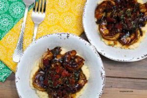 Mardi Gras Spicy Datil Pepper Shrimp and Cauliflower Grits