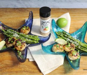Sauteed Sea Scallops in Wine Butter Sauce with Fresh Asparagus and Datil Zest Seasoning