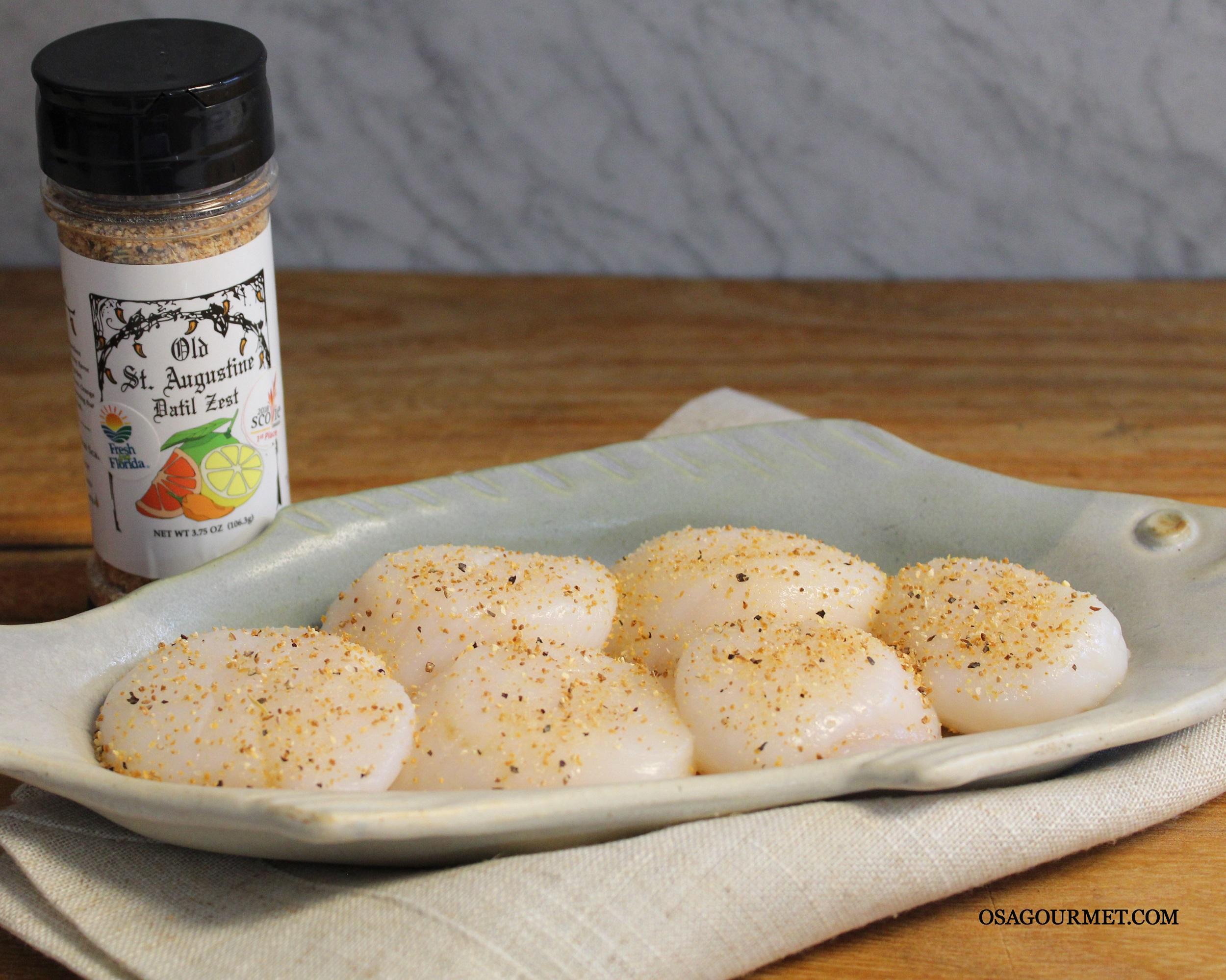 Sea Scallops seasoned with Datil Zest