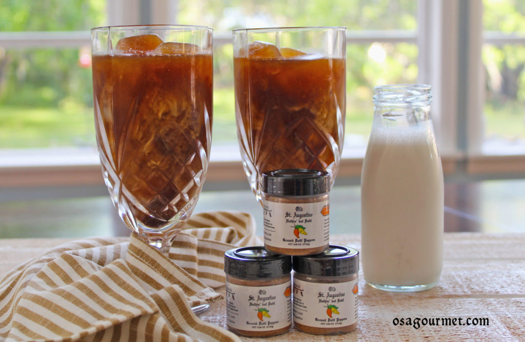 iced coffee in tall glasses with OSA Gourmet Nuthin' But Datil pure ground datil pepper powder