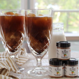 iced coffee in tall glasses with Nuthin' But Datil pure ground datil pepper