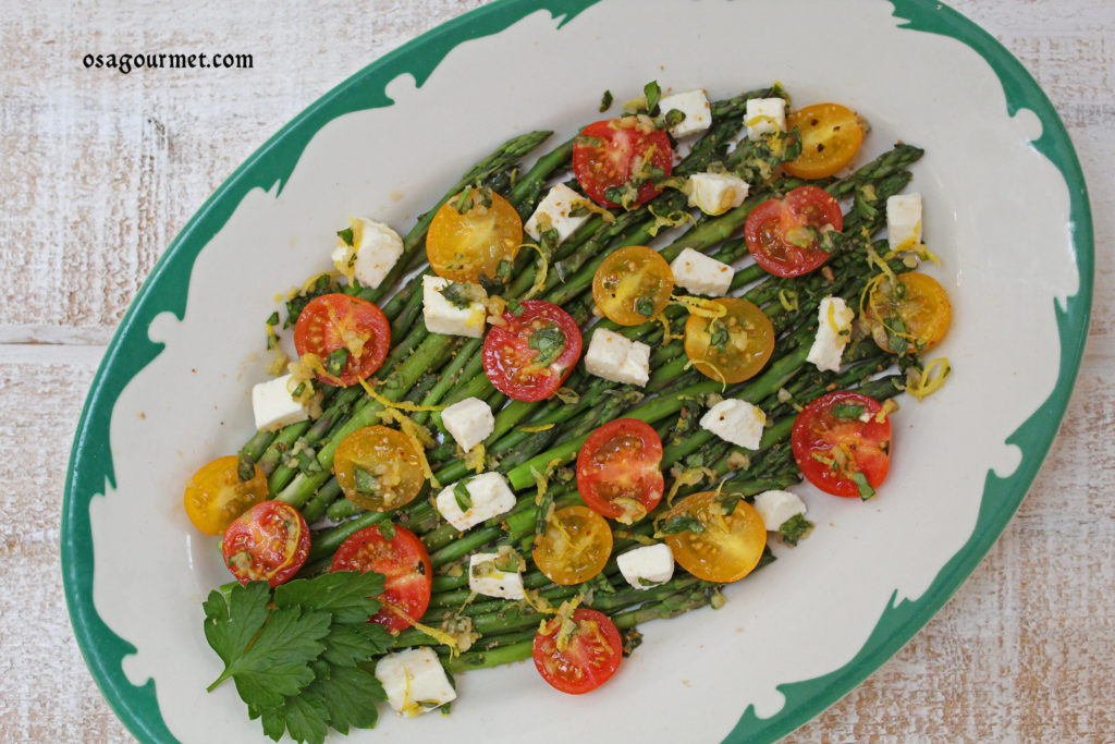 asparagus, tomato and mozzarella salad