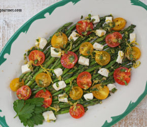 asparagus, tomato and mozzarella salad