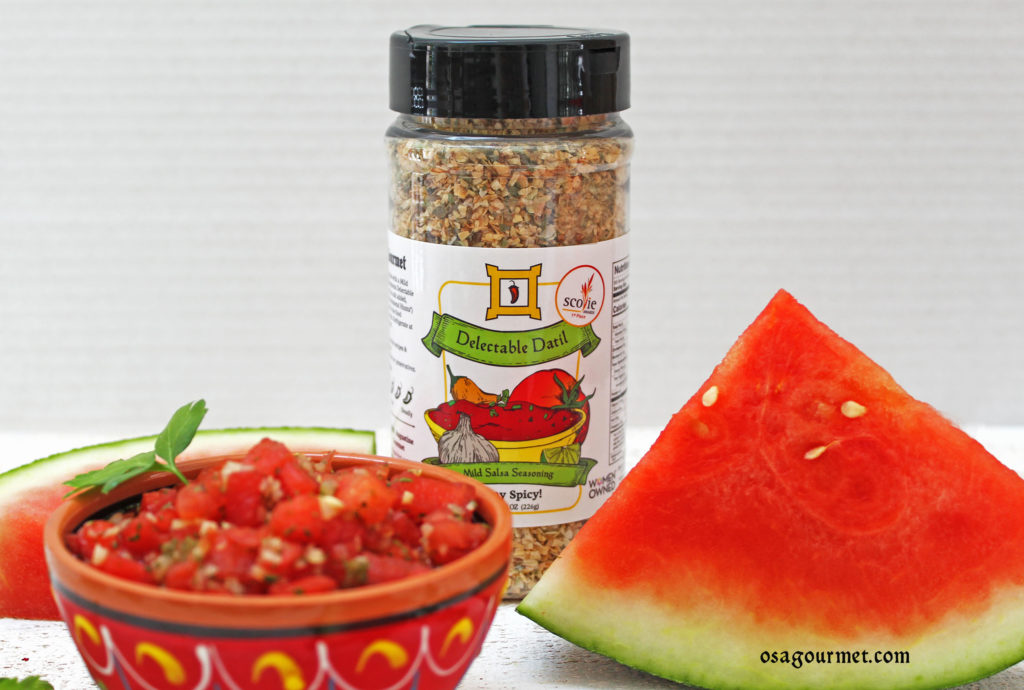 watermelon salsa with OSA Gourmet Delectable Datil Salsa Seasoning