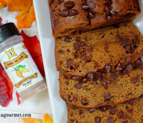 pumpkin banana and chocolate chip bread with bottle of nuthin' but datil pepper