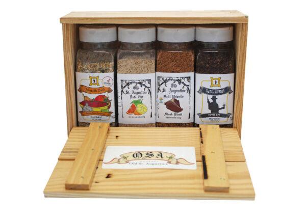 Medium Salsa Seasoning Datil Zest Spice Blend Chipotle Steak Blend Cowboy Coffee Rub Wooden Crate Gift Box