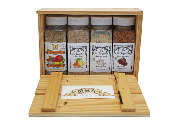 Medium Salsa Seasoning Datil Zest Spice Blend Garlic Blend Chipotle Steak Blend Wooden Crate Gift Box