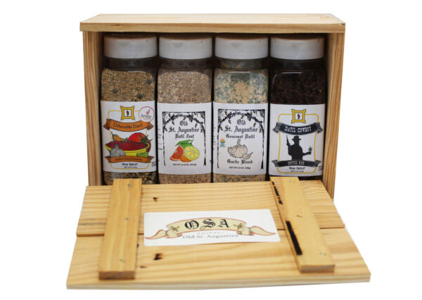 Medium Salsa Seasoning Datil Zest Spice Blend Garlic Blend Cowboy Coffee Rub Wooden Crate Gift Box