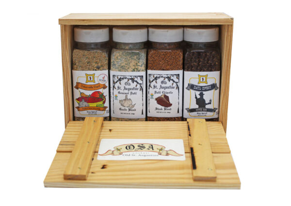 Medium Salsa Seasoning Garlic Blend Datil Chipotle Steak Coffee Rub Wooden Crate copy