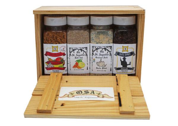 Smokin Hot Salsa Seasoning Datil Zest Spice Blend Garlic Blend Cowboy Coffee Rub Wooden Crate Gift Box